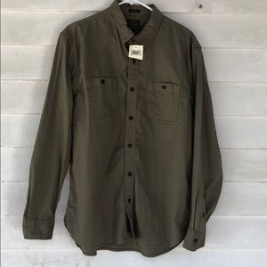 Large olive green button front long sleeve shirt